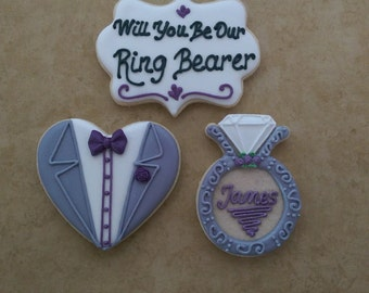 Will You Be My Ring Bearer Will You Be My Bridesmaid Will You Be My Maid Of Honor, Flower Girl Decorated Wedding Party Cookies,