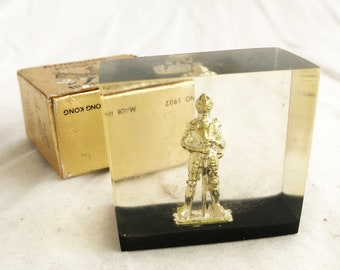 Paperweight - Vintage 70s plastic desktop tabletop gold knight embodiment game of thrones medieval
