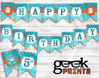 Happy Birthday Banner with Octonauts Theme Printable Download