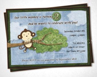 Playful Monkey Birthday Invitation - DIY Printable