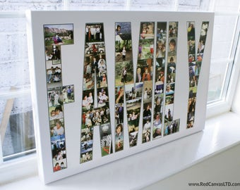 FAMILY Photo Collage Canvas Print -Personalised with Text -  20x30 Inches up to 70 Photos - Premium Hand Made in UK