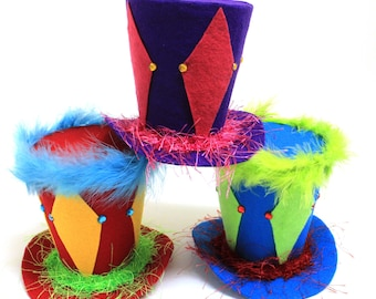 5in. set of 3 Circus Circus Headband Top Hats , Circus themed Party decoration, Ringling Brothers party theme. Clown party decoration