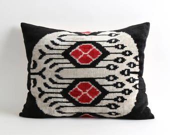 black ikat pillow, ikat pillows, velvet, throw pillow, decorative pillows, velvet ikat cushion, velvet cushion, black white pillow