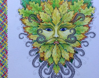 Celtic Green Man Mounted Print ( Hand Finished)
