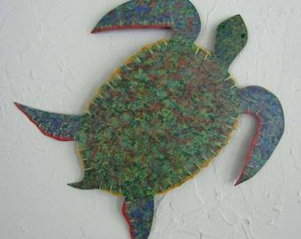 Ocean Decor Metal Wall Art Sea Turtle Sculpture Ocean Beach House Wall Decor Bright Beautiful Green Blue Bathroom Wall Art  Sea Life 13 x 12