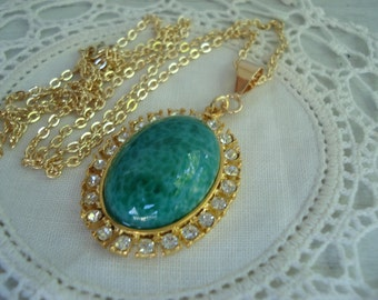 FINAL SALE Vintage Jade Peking Glass Gold Rhinestones Pendant Necklace