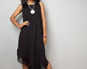 Black Dress / Sleeveless Black Dress / Black Fringe Dress : Nature Touch Collection No.6