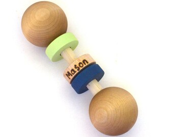 Personalized Wooden Baby Rattle, Pick Any 2 Colors, Waldorf Baby Toy