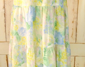 Vintage pastel floral tiered peasant wrap skirt/green/yellow floral ruffle tiered skirt