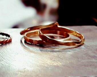3 Brass Stacking Rings