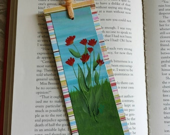 Handpainted Bookmark with Red-orange Gerbera Daisies