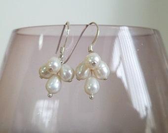 Ivory Freshwater Pearl Cluster Drop Earrings Sterling Silver  UK made