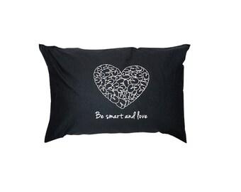 Baumwolle Kissenbezüge Set von 2 Designer Kissenbezüge Spaß zeitgenössischen werden Smart und Liebe Minimal Bettwäsche Design schwarz Kissenbezüge für Paare