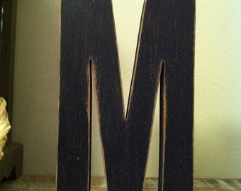 Hand-painted Wooden Letter M - Freestanding - Ariel Black Font - Various sizes, finishes and colours - 20cm