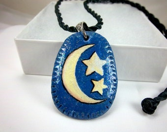 Celestial Pendant, Moon and Stars Pendant, Blue Pendant, Polymer Clay, Hand-Painted Pendant, Black Satin Cord