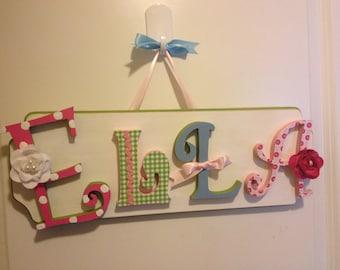 Custom Kids Name Sign - Nursery Wall Letters Name Sign - Custom Children's Shabby Chic Name Plaque 3-4 Letters