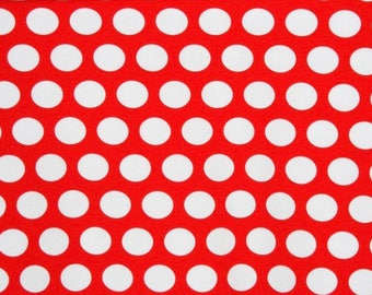 Red/White Dots Cotton lycra knit fabric