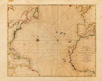 Vintage Atlantic Ocean Map Print 8x10 P78