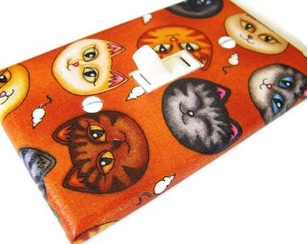 KITTY CAT HEADS Light Switch Cover Plate Switchplate Pet Decor Cat Decor Feline Furries