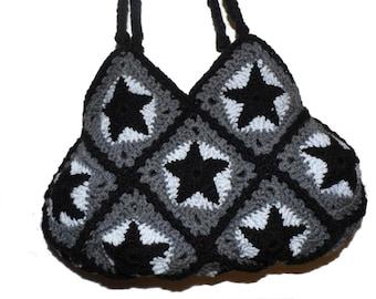 Crochet Bag * BlacK StarS * Granny Square * SECOND HAND *
