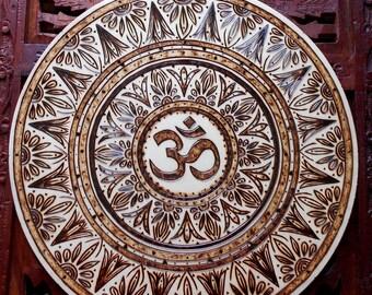 "10"" Om Mandala Wall Hanging - Pyrography Art, Spiritual Wall Art, Sacred Geometry Art, Om Symbol, Bohemian Wall Art, Mandala Wall Art"