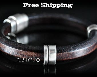 Custom men's leather bracelet - Men's bracelet - Leather jewelry - Anniversary gifts - Strong magnetic clasp - Quality  leather