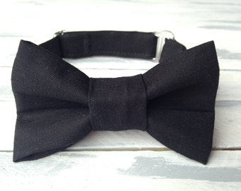 Boys Black Bow Tie  - Infant Baby Toddler Boys Bow Tie - Birthday Bowtie -Preppy Bow Tie -Ring Bearer Bow Tie -Wedding Bow Tie - Photo Prop