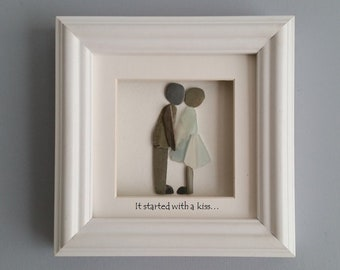 Pebble Art Couple, Sea Glass Art, Kissing Couple, It Started with a Kiss, Cornish Pebble Art, Made in Cornwall