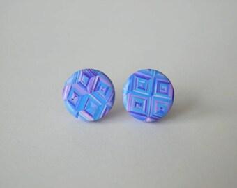 Polymer Clay Stud Earrings, 11 mm studs