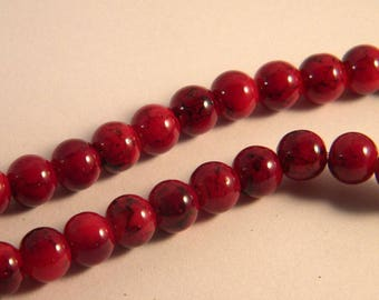 glass 8 mm bright red speckled black TR1 trefilee 30 beads