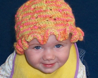 KNIT PATTERN - Ruffled Eyelet Baby Hat