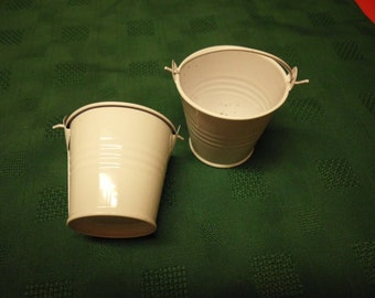 """Two miniature white metal buckets 2 and 1/8"""" x 2.25"""""""