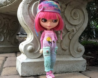 Garden outfit for Blythe, spring doll clothes, ooak Neo Blythe outfit