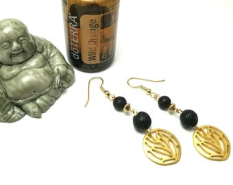 Essential Oil Diffuser Gold Plated Earrings with Black Lava Beads; Aromatherapy Earrings
