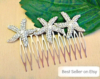 Bridal Hair Comb - Bridal Starfish Comb - Wedding Hair Comb - Decorative Comb - Star Fish Hair Comb - Beach Wedding - Bridal Hair Accessory