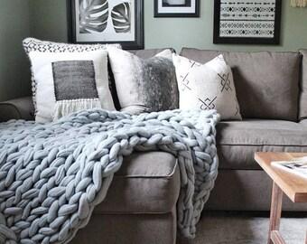 FELTED MERINO WOOL Blanket, Arm Knit Blanket,Merino Wool Blanket, Super Chunky Blanket,Handmade, Extreme Knitting