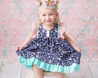 Unicorn dress, birthday dress, navy dress, navy unicorn dress, blue and gold unicorn dress, fluttler sleeve dress, by Melon Monkeys