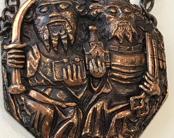 Solid brass pendant necklace - ancient gods/monks