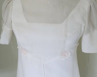 70s wedding dress gown with flowers As is