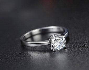 Engagement Ring 1ct Moissanite Ring Moissanite Engagement Ring 14K White Gold Moissanite Wedding Rings Diamond Wedding Ring Set 1 Carat