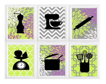 Modern Kitchen Art Print Set - Utensil Appliance Silhouettes Personalized Name - Set of (6) Prints  grey purple Green- Personalize Colors