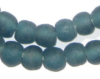 45 Recycled Glass Beads - Teal African Beads - 11mm Round Beads - Fair Trade Necklace - Made in Africa (RCY-RND-BLU-645)