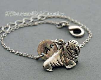 Walrus charm bracelet, antique silver, initial bracelet, friendship, mothers, adjustable, monogram
