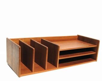RESERVED - Teak Desk Organizer Mid Century Modern Office Georg Petersens Design