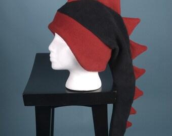 Dragon Hat - Black and Red Fleece Dinosaur Spiked Hat by Ningen Headwear