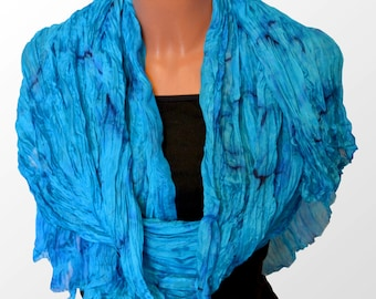 Large silk scarf  , Scarf natural silk, the big blue turquoise scarf, silk shawl turquoise, accordion pleats scarf hand painted