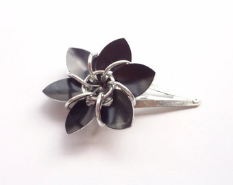 Black Flower Barrette Made From Anodized Aluminum Scalemaille