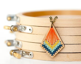 Cross Stitch Bamboo Necklace Kit - DIY - Pendant with Modern Stitched Design