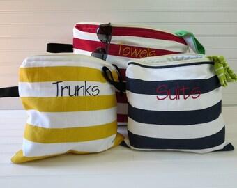 Bridesmaid Gifts - Personalized Gift, Wet Bag Set of 3, Swim Suit Bag, Beach Wet Bag, Surfing Wet Bag, Bikini Wet Bag, Monogram Wet Bag