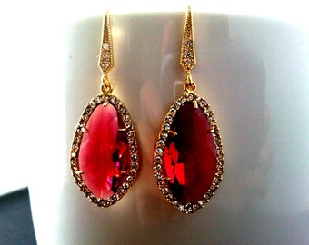Red Ruby Earrings - July Birthstone, Ruby Red Cubic Gold Drop Earrings, Wedding Jewelry, Bridesmaid Jewelry Bridesmaid Gift, Gift